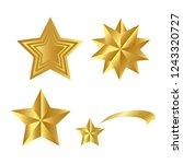 realistic golden stars vector... | Shutterstock .eps vector #1243320727