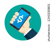 hand holding mobile phone | Shutterstock .eps vector #1243330801