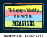 the language of friendship is... | Shutterstock .eps vector #1243341154