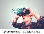 asian man in tartan shirt... | Shutterstock . vector #1243343761