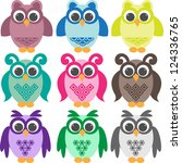 set of doodle colorful owls | Shutterstock .eps vector #124336765