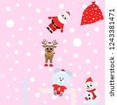 christmas card  santa snowman... | Shutterstock .eps vector #1243381471