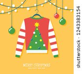 ugly christmas sweater hanging... | Shutterstock .eps vector #1243383154