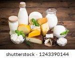 various types of cheese and...   Shutterstock . vector #1243390144