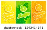 set of fresh lemon mojito... | Shutterstock .eps vector #1243414141