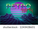 futuristic background 80s style.... | Shutterstock .eps vector #1243428631