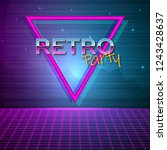 futuristic background 80s style.... | Shutterstock .eps vector #1243428637