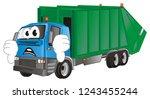 un happy garbage truck with...   Shutterstock . vector #1243455244