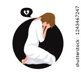 sorrow and grief. the woman is...   Shutterstock .eps vector #1243467247