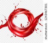 red juice realistic splash....   Shutterstock .eps vector #1243467301