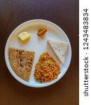 healthy indian breakfast with... | Shutterstock . vector #1243483834