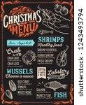 christmas menu template for... | Shutterstock .eps vector #1243493794