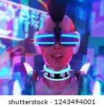 3d illustration face portrait... | Shutterstock . vector #1243494001