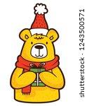 bear winter merry christmas... | Shutterstock .eps vector #1243500571