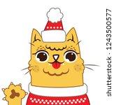 cat kitty kat merry christmas... | Shutterstock .eps vector #1243500577