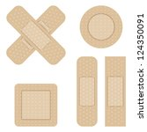 set of adhesive bandage. vector ... | Shutterstock .eps vector #124350091