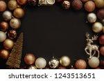christmas gold frame of gift... | Shutterstock . vector #1243513651