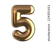 number 5 from gold round... | Shutterstock . vector #124351411