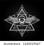 sacred geometry with all seeing ... | Shutterstock .eps vector #1243519567