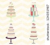 cake quartet  a foursome of... | Shutterstock .eps vector #124351987