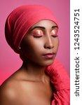 beautiful dark skinned model... | Shutterstock . vector #1243524751