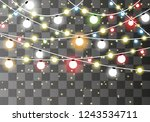 christmas lights . glowing... | Shutterstock .eps vector #1243534711