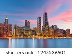 chicago  illinois  usa downtown ... | Shutterstock . vector #1243536901