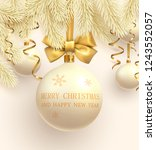yellow merry christmas and...   Shutterstock .eps vector #1243552057