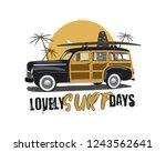 vintage surfing emblem with... | Shutterstock . vector #1243562641