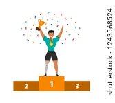 sportsman with prosthesis leg... | Shutterstock .eps vector #1243568524