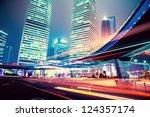 night scene of modern city   Shutterstock . vector #124357174
