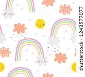 seamless pattern with cute sun... | Shutterstock .eps vector #1243577077