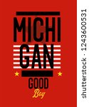michigan good boy t shirt design | Shutterstock .eps vector #1243600531