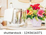 two glasses of champagne in the ... | Shutterstock . vector #1243616371