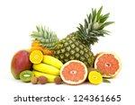 fresh fruits on white background | Shutterstock . vector #124361665