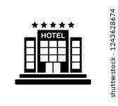 hotel icon glyph   Shutterstock .eps vector #1243628674