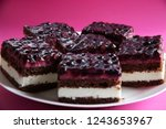 pieces of chocolate cheese cake ... | Shutterstock . vector #1243653967