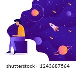 a man works at a laptop in... | Shutterstock .eps vector #1243687564