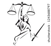 lady justice is a common sight... | Shutterstock .eps vector #1243688797