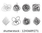 tangled shapes on white. chaos... | Shutterstock .eps vector #1243689271