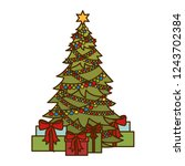 christmas tree with gifts... | Shutterstock .eps vector #1243702384