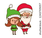 santa claus with elf woman... | Shutterstock .eps vector #1243705057