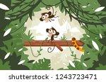 Cute Monkeys On Tree Among...