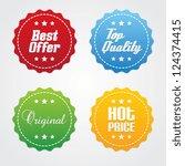 set of promotional vector labels | Shutterstock .eps vector #124374415