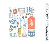 woman care kit. hand and face... | Shutterstock .eps vector #1243744171