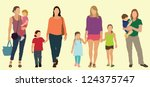 caucasian  white  mothers with... | Shutterstock .eps vector #124375747