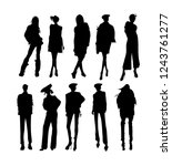 vector fashion model... | Shutterstock .eps vector #1243761277