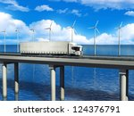 white truck on the road | Shutterstock . vector #124376791