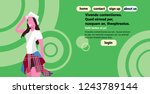 woman holding hat summer...   Shutterstock .eps vector #1243789144