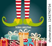 christmas card with elf legs... | Shutterstock .eps vector #1243790734